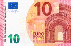 Parte da conta do euro 10 no macro Imagem de Stock Royalty Free