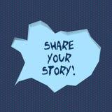 Parte da escrita do texto da escrita sua história O significado do conceito diz experiências demonstratingal para falar sobre o s ilustração stock