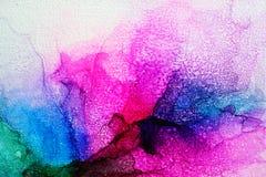Parte da pintura original da tinta do álcool na lona fotos de stock royalty free