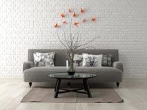 Parte da rendição moderna do design de interiores 3D Imagem de Stock Royalty Free