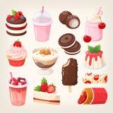 Parte 1/3 das sobremesas da morango e do chocolate ilustração stock