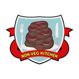 Parte de bife roasted da carne Logotipo para pratos do café ou da carne do serviço do restaurante Cozinha sem vegetais Ilustração Imagem de Stock
