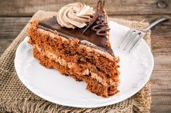 Parte de bolo de chocolate doce, delicioso imagem de stock