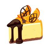 Parte de bolo de queijo do aniversário com a cobertura do chocolate decorada com fruto Fotos de Stock Royalty Free