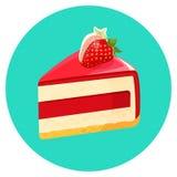 Parte de bolo de queijo do aniversário com a geleia decorada com vetor da morango Fotografia de Stock