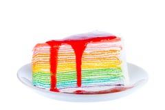 Parte de bolo delicioso, isolada no fundo branco Fotografia de Stock Royalty Free