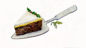 Parte de bolo do Natal em uma fatia do bolo. Fotos de Stock Royalty Free
