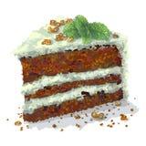 Parte de bolo do pepermint com fatias de nozes, ramo do vetor da hortel?, ameixas secas, camadas macias fri?veis do bolo, que s?o ilustração stock