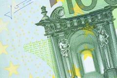 Parte de cem fundos da conta do euro Macro de alta resolução do close-up da foto fotografia de stock