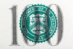 Parte de cem notas de dólar no macro imagem de stock royalty free