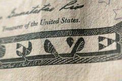 Parte de cinco dólares Bill Macro Foto de Stock