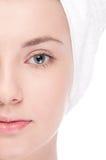 Parte de la cara de la mujer: ojo del primer Imagen de archivo libre de regalías