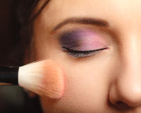 Parte de la cara de la mujer que aplica el detalle del maquillaje del colorete del colorete Imágenes de archivo libres de regalías