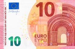Parte de la cuenta del euro 10 en macro Imagen de archivo libre de regalías