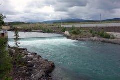 Parte de la escalera de pescados en los territorios de la presa del whitehorse Foto de archivo