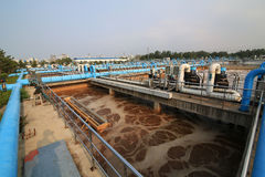 Parte de la escena de la depuradora de aguas residuales  Imagenes de archivo