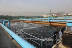 Parte de la escena de la depuradora de aguas residuales  Fotos de archivo libres de regalías