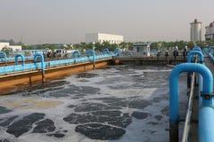 Parte de la escena de la depuradora de aguas residuales  Foto de archivo