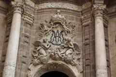 Parte de la fachada de la iglesia de la catedral, Valencia, España Imagenes de archivo