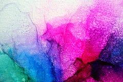 Parte de la pintura original de la tinta del alcohol en lona imagen de archivo libre de regalías