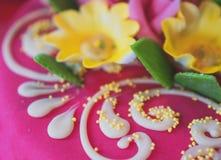 Parte de la torta rosada del mazapán Foto de archivo libre de regalías