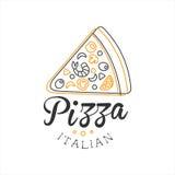 A parte de promoção italiana do menu do café da rua do fast food da pizza da qualidade superior da pizza assina dentro mão simple Imagem de Stock Royalty Free