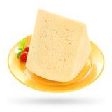 Parte de queijo com o tomate e a hortelã isolados no branco Fotografia de Stock Royalty Free