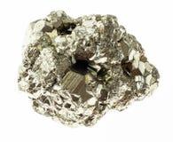 parte de rocha da pirite de ferro (pirite do enxofre) no branco imagens de stock royalty free