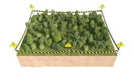 Parte de tierra con la representación del bosque 3d Imagen de archivo