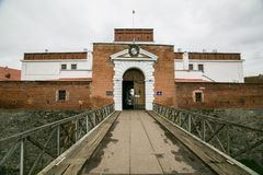 Parte de trabalhos da fortificação do castelo em Dubno ucrânia fotografia de stock