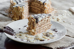 Parte de um bolo tradicional de Esterhazy do Hungarian na placa Imagens de Stock