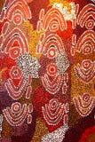Parte de uma arte finala aborígene abstrata e antiga, Austrália Fotografia de Stock Royalty Free