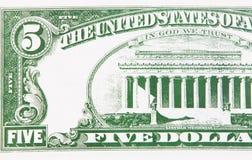 Parte de uma conta de dólar cinco Foto de Stock Royalty Free