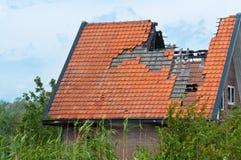 Parte de una casa quemada Imágenes de archivo libres de regalías