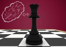 A parte de xadrez contra a nuvem marrom do fundo e do pensamento com matemática rabisca Imagens de Stock