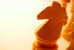 Parte de xadrez de madeira macro do cavalo Imagem de Stock Royalty Free