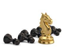 Parte de xadrez do cavaleiro e dos penhores no fundo branco ilustração 3D ilustração stock