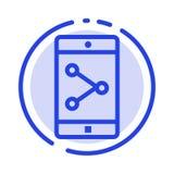 Parte del App, cellulare, linea punteggiata blu linea icona di applicazione mobile illustrazione vettoriale