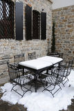 Parte del café de la calle en el invierno Imagenes de archivo
