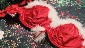 Parte del costume della mascotte del ` s della donna di Santa stock footage