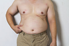 Parte del cuerpo del hombre gordo asiático Imagen de archivo libre de regalías