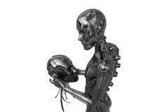 Parte del cyborg (principal) en manos de otra Fotos de archivo