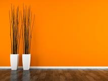 Parte del interior con la representación anaranjada de la pared y de los floreros 3D libre illustration