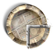Parte del japonés Yen Money Pie Imágenes de archivo libres de regalías