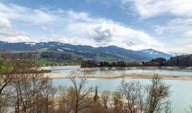 Parte del lago gruyere, suizo Fotografía de archivo