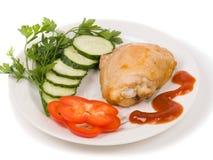 Parte del pollo fritto con le erbe immagine stock