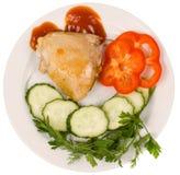 Parte del pollo fritto con le erbe fotografia stock