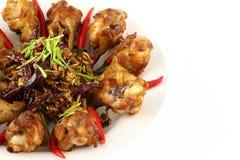 Parte del pollo fritto dell'erba piccante Fotografia Stock