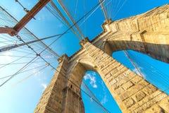Parte del ponte di Brooklyn famoso Fotografie Stock Libere da Diritti