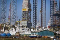 Parte del primo piano del porto di Esbjerg in Danimarca Immagine Stock Libera da Diritti
